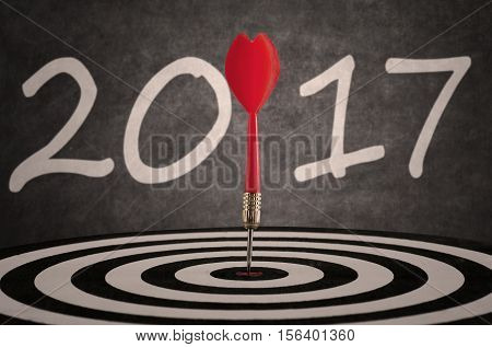 Picture of bullseye hit the target on dartboard with number 2017