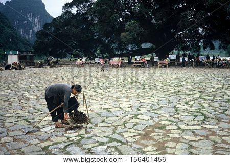 YANGSHUO / CHINA - CIRCA 1987: A woman cleans camel dung from the ground in a park beside the Li River.