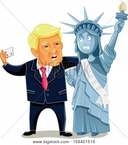November 14, Donald Trump Taking a Selfie Caricature Vector