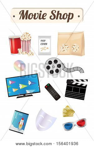 Movie shop wood board with pop corn film cd disc dvd movie box smart television film remote ticket emotion mask 3d glasses