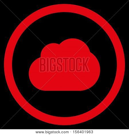 Cloud vector rounded icon. Image style is a flat icon symbol inside a circle, red color, black background.