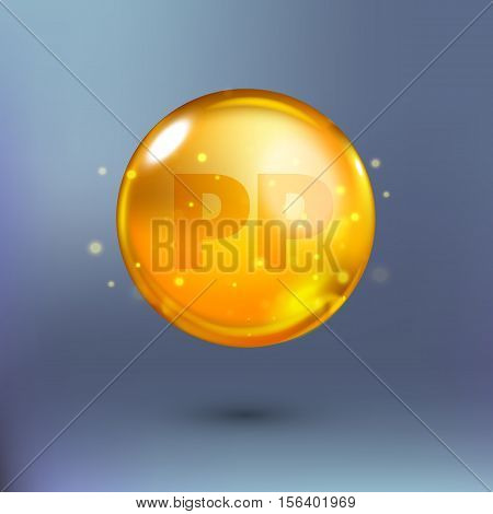 Shining golden essence circle droplet. Vector illustration of vitamin PP in orange and yellow colours on blue background with shadow. Medical and pharmaceutical image.