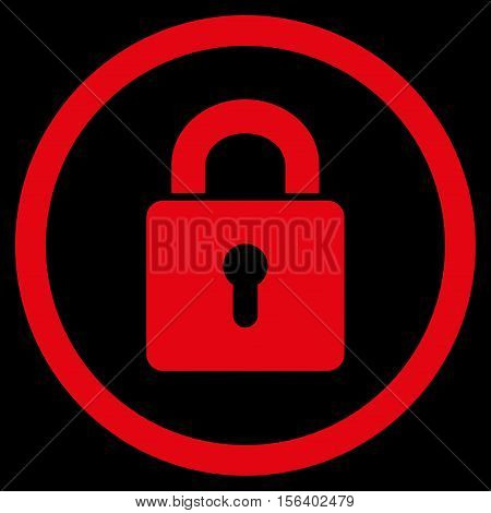 Lock Keyhole vector rounded icon. Image style is a flat icon symbol inside a circle, red color, black background.