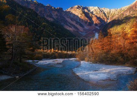 The fall season of kamikochi, in Hotaka Ranges, Kamikochi, Japan.