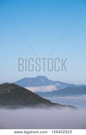 Sea of clouds, fog in morning with high mountain in Nagano province, Japan.