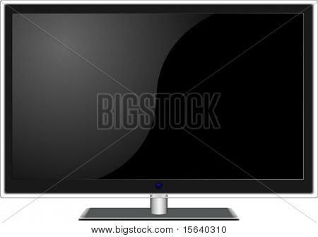 New wide-screen TV set in elegant glass design  isolated on white background. Vector illustration.