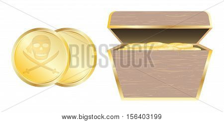 a Gold Pirate coin and treasure chest