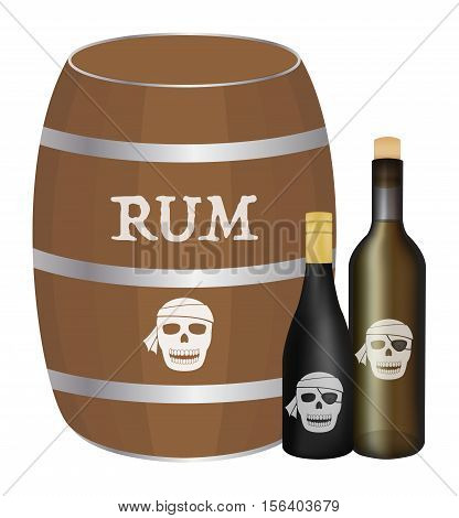a rum barrel and rum bottle vector