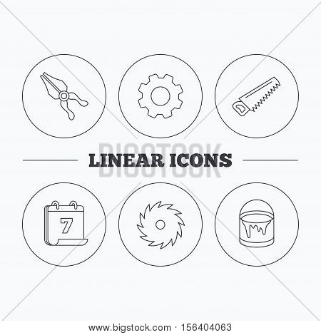 Pliers, circular saw and bucket of paint icons. Saw linear signs. Flat cogwheel and calendar symbols. Linear icons in circle buttons. Vector