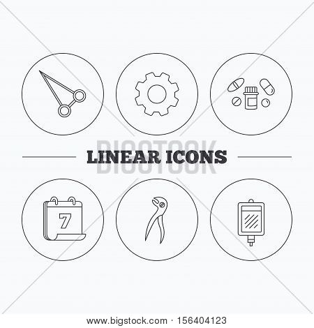 Medical pills, blood and dental pliers icons. Peans forceps linear sign. Flat cogwheel and calendar symbols. Linear icons in circle buttons. Vector