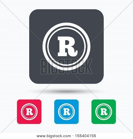 Registered trademark icon. Intellectual work protection symbol. Colored square buttons with flat web icon. Vector poster
