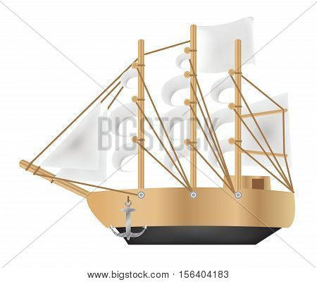 a Galleon ship vector on a white background