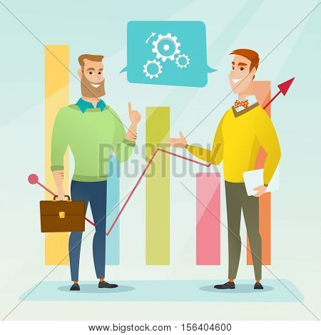Businessmen discussing market analysis on background of financial graph. Men talking about situation on market. Marketers analyzing statistical data. Vector flat design illustration. Square layout.