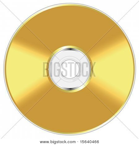 Realistic vector illustration of golden compact disc isolated on white background.