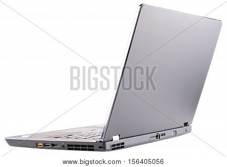 laptop (notebook) with open cover rear isometric view isolated on the white background