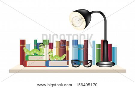 Book worm on a book shelf with books reading glasses and reading lamp