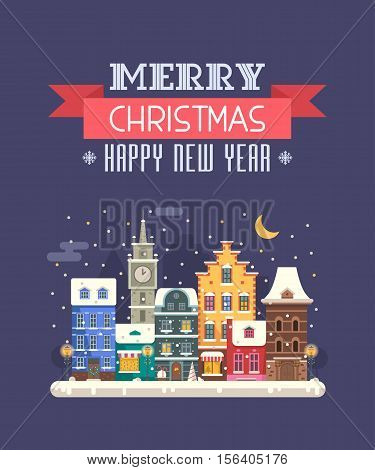 Vector Christmas wishing card with traditional celebrating text. Merry Christmas and Happy New Year greetings card with winter festive background. Winter holidays congratulation template in flat.