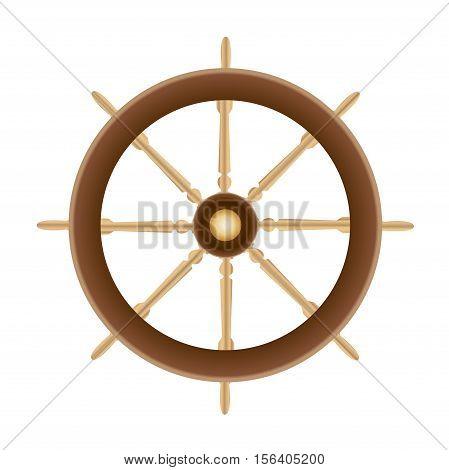 Wood Boat Ships Steering Wheel vector isolated