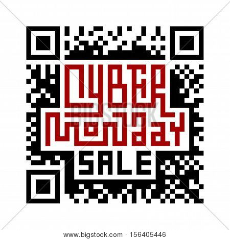 Cyber Monday Lettering with QR-code. Eps8. RGB. Global colors