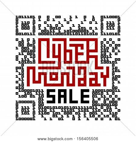 Cyber Monday Sale Lettering with QR-code consist of binary code. Eps8. RGB. Global colors
