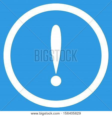Exclamation Sign vector rounded icon. Image style is a flat icon symbol inside a circle, white color, blue background.
