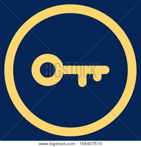 Key vector rounded icon. Image style is a flat icon symbol inside a circle, yellow color, blue background.
