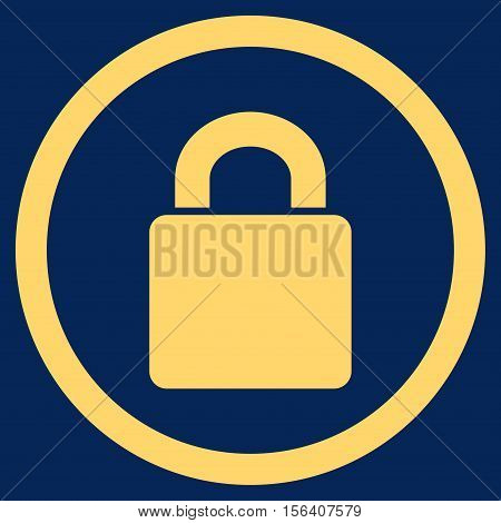 Lock vector rounded icon. Image style is a flat icon symbol inside a circle, yellow color, blue background.