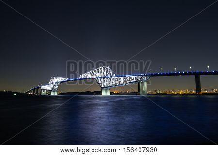 Nightview of Tokyo Gate Bridge in Tokyo, Japan.