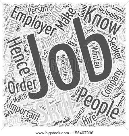 Wanted Job Skills On The Loose word cloud concept