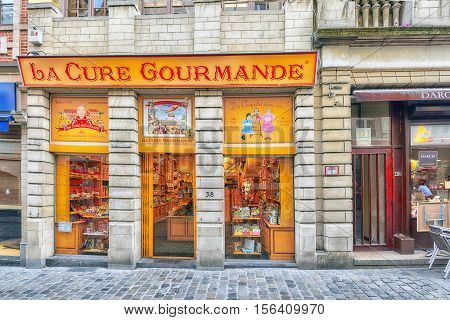 Brussels, Belgium - July 07, 2016 : Chocolate Shop And City Views Cozy European Cities - Brussels, B