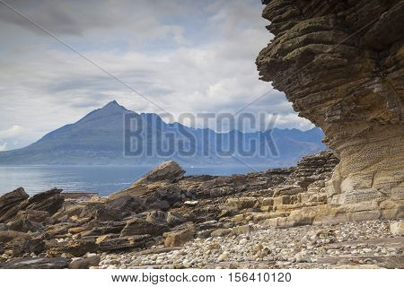Black Cullin mountains from Elgol Isle of Skye Scotland