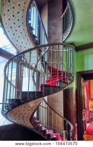 Paris, France - July 03, 2016 : Spiral Staircase. Apartments Of Napoleon Iii. Louvre Museum Is The B
