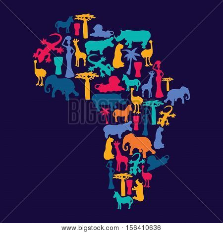 Vector Map of Africa with african symbols silhouette icons in flat style -illustration