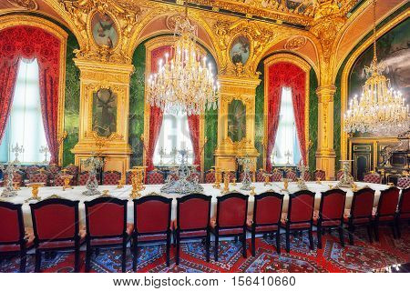 Paris, France - July 03, 2016 :  Apartments Of Napoleon Iii. Large Dining Room. Louvre Museum Is The