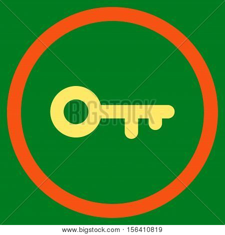 Key vector bicolor rounded icon. Image style is a flat icon symbol inside a circle, orange and yellow colors, green background.