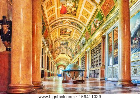 Fontainebleau, France - July 09, 2016 : Fontainebleau Palace Interiors. The Diana Gallery. Chateau W