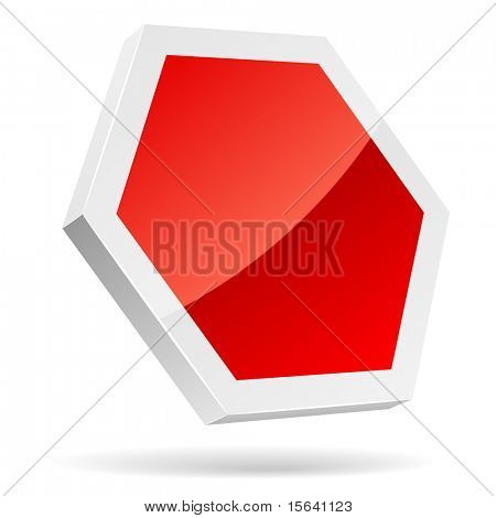 Blank stop sign 3D icon isolated on white.