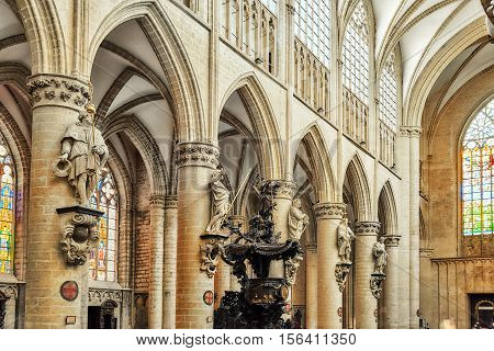 Brussels, Belgium - July , 2016 : Inside Cathedral Of St. Michael And St. Gudula  Is A Roman Catholi