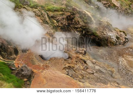 Bolshoy Big Geyser in Valley of Geysers. Kronotsky Nature Reserve on Kamchatka Peninsula.