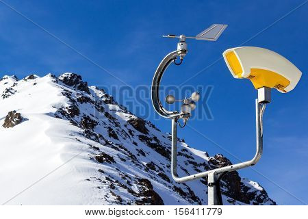 weather station in mountains. temperature and wind instruments