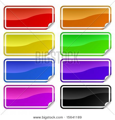 Colorful promotional rectangle stickers with peeling corner.