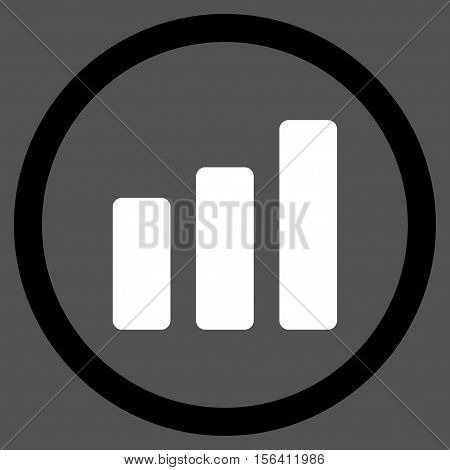 Bar Chart Increase vector bicolor rounded icon. Image style is a flat icon symbol inside a circle, black and white colors, gray background.