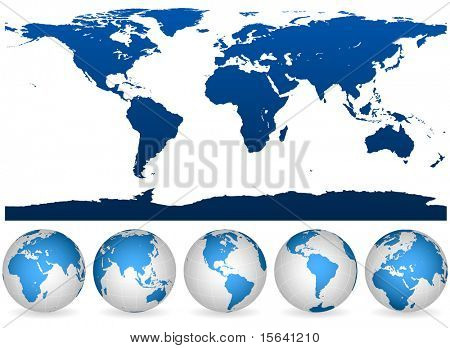 Detailed blue and white world outline and globes isolated on white.