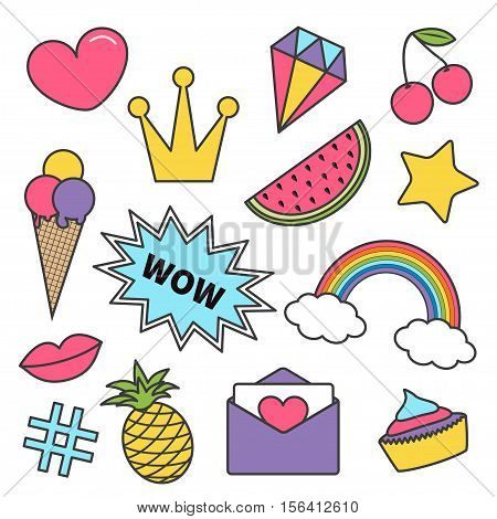 Quirky cartoon sticker patch badge set. Kawaii pin. Heart crown diamond cherry rainbow cloud cupcake ice cream watermelon lips star wow text pineapple hashtag envelope letter Isolated Flat Vector