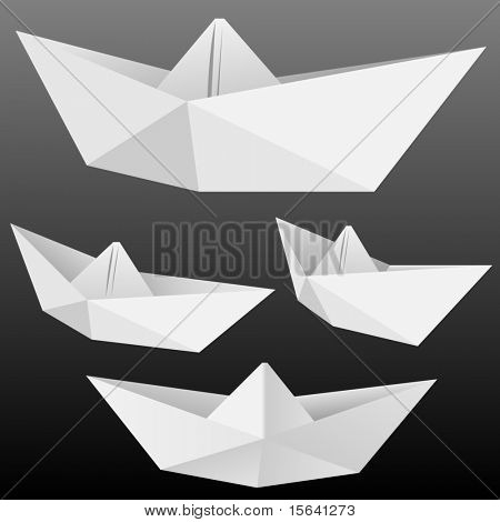 Vector collection of origami paper boats isolated on black.