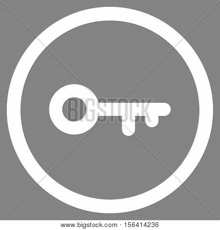 Key vector rounded icon. Image style is a flat icon symbol inside a circle, white color, gray background.