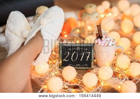 Christmas background year 2017. Winter holiday concept