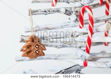 Christmas Tree Decoration With Gingerbread And Candy Cane
