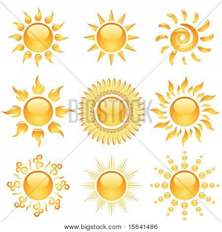 Gelbe glänzende Sonne Icons Sammlung isolated on White.