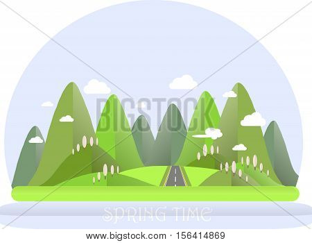 Spring mountain landscape. Green hills, blue sky, white clouds, pink trees, grey highway. Flat design, stock vector illustration